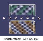 soccer football goalpost with... | Shutterstock .eps vector #696123157