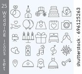 thin line web interface icons   ... | Shutterstock .eps vector #696125263