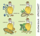 collection of bottle with... | Shutterstock .eps vector #696126607