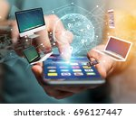 view of a computer and devices... | Shutterstock . vector #696127447