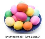 easter eggs on blue plate...   Shutterstock . vector #69613060