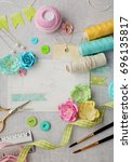 scrapbooking greeting card... | Shutterstock . vector #696135817