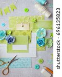 scrapbooking greeting card... | Shutterstock . vector #696135823
