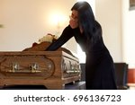 people and mourning concept  ... | Shutterstock . vector #696136723