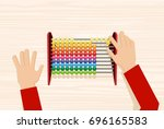 hand using the abacus... | Shutterstock .eps vector #696165583