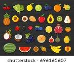 set of different kinds of fruit ... | Shutterstock .eps vector #696165607