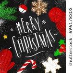 christmas poster lettering... | Shutterstock .eps vector #696178303