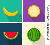 banana and watermelon. colorful ... | Shutterstock .eps vector #696184447