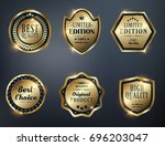 set of golden labels collection | Shutterstock .eps vector #696203047