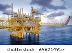 offshore oil and gas rig... | Shutterstock . vector #696214957