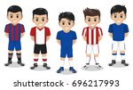 5 vector character football  ... | Shutterstock .eps vector #696217993