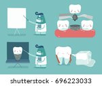 dentist  implant tooth and ... | Shutterstock .eps vector #696223033