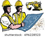 vector illustration of miners... | Shutterstock .eps vector #696228523