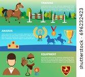 horse riding banners set.... | Shutterstock .eps vector #696232423