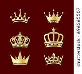 set of crowns. vector elements... | Shutterstock .eps vector #696265507