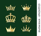 set of crowns. vector elements... | Shutterstock .eps vector #696265513
