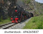 old steam locomotive in the... | Shutterstock . vector #696265837