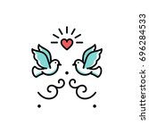 wedding doves love birds icons. ... | Shutterstock .eps vector #696284533