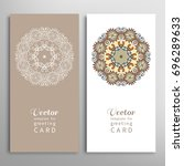 cards or invitations set with... | Shutterstock .eps vector #696289633