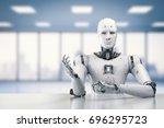 3d rendering humanoid robot... | Shutterstock . vector #696295723