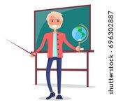smiling teacher of natural... | Shutterstock .eps vector #696302887