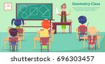 geometry class with woman... | Shutterstock .eps vector #696303457
