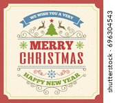 merry christmas greeting card... | Shutterstock . vector #696304543