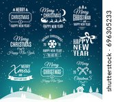 christmas set   labels elements | Shutterstock . vector #696305233