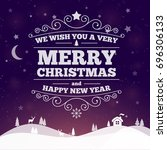 merry christmas label color... | Shutterstock . vector #696306133
