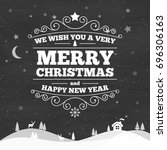 christmas greeting type design | Shutterstock . vector #696306163