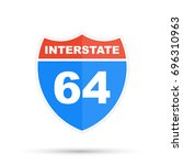 interstate highway 64 road sign | Shutterstock . vector #696310963