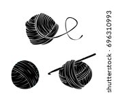 yarn ball set in simple style.... | Shutterstock .eps vector #696310993