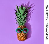 pineapple fruit hipster. bright ... | Shutterstock . vector #696311257