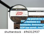 Small photo of Milan, Italy - August 10, 2017: Automatic data processing services website homepage. It is an American provider of human resources management software and services . Adp logo visible.