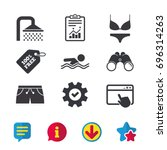 swimming pool icons. shower...