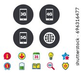 mobile telecommunications icons.... | Shutterstock .eps vector #696316477