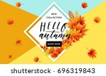 autumn sale flyer template with ... | Shutterstock .eps vector #696319843
