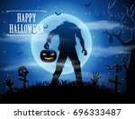 halloween background with... | Shutterstock . vector #696333487