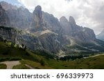 landscape of dolomite mountain... | Shutterstock . vector #696339973