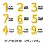 baloons numbers set  golden air ... | Shutterstock .eps vector #696341467