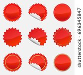 red starbursts set  ... | Shutterstock .eps vector #696345847