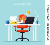 workplace. office room. modern... | Shutterstock .eps vector #696349573