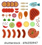 pieces of tomatoes  eggplant ... | Shutterstock .eps vector #696350947