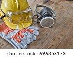standard construction safety... | Shutterstock . vector #696353173