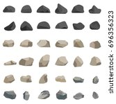 rock and stone set in flat style | Shutterstock .eps vector #696356323