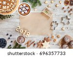 christmass composition with... | Shutterstock . vector #696357733