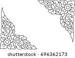 thai pattern line on isolate... | Shutterstock .eps vector #696362173