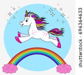 unicorn vector  illustration.... | Shutterstock .eps vector #696364633