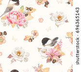 Seamless Pattern With Flower...