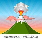 minimalistic flat volcano... | Shutterstock .eps vector #696366463